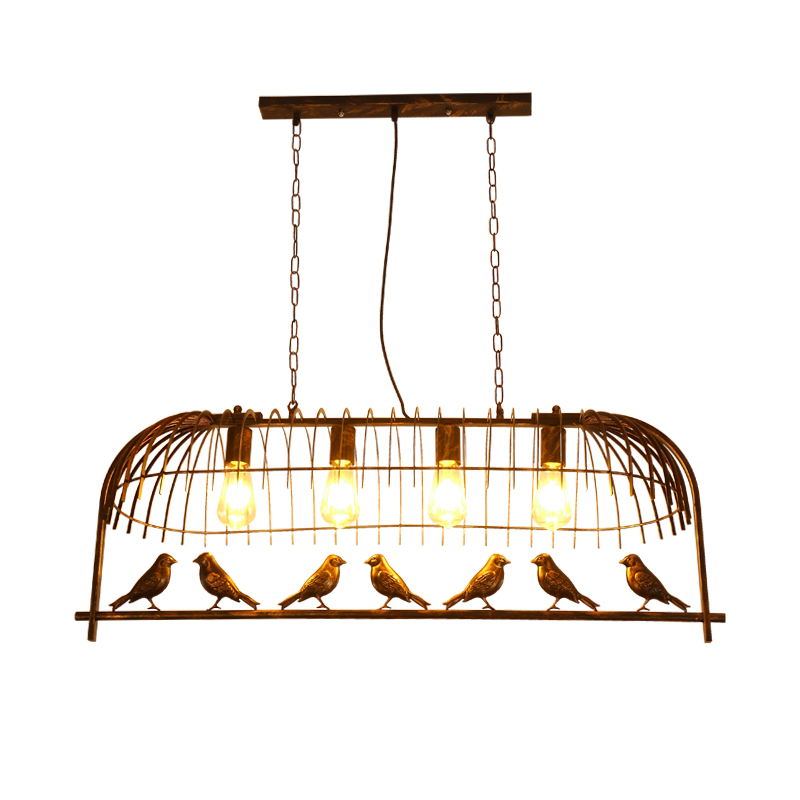 Vintage Iron Hanging Light American Industrial Bar Cafe Bird Decor Pendant Lamps 3 Heads/7 Heads Birdcage Light For Coffee Shop