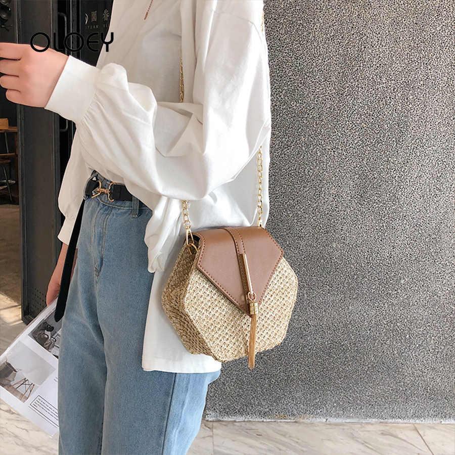 2019 Novas Mulheres Borla Bolsas De Palha Rattan Tecido Bolsa de Ombro Pequeno Saco de Retalhos De Qualidade Sacos do Mensageiro das Mulheres Da Praia do Verão sacos