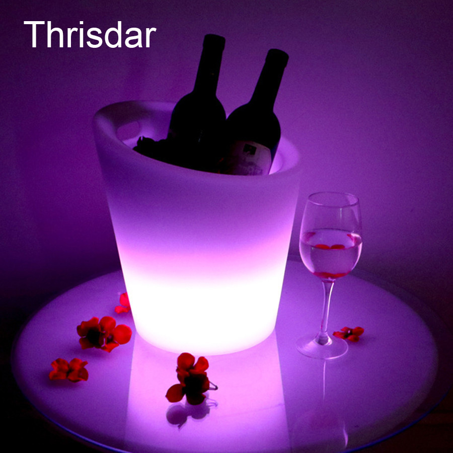 Thrisdar 16 Color Creative KTV Bar Party Ice Bucket IP68 USB Rechargeable Plastic LED Illuminated Wine Beer ice Bucket