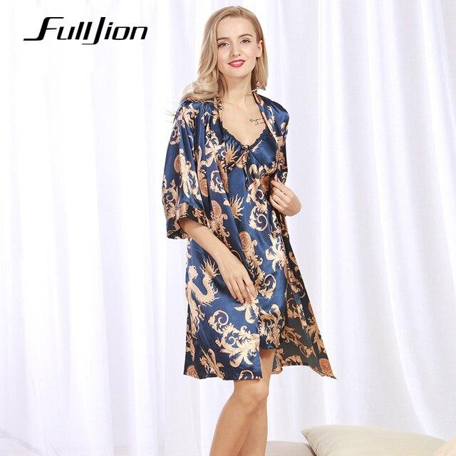 Fulljion New arrival sexy faux silk Pajamas Sleepwear   Robes Nightdress  Nightgown 2pcs Bathrobe Set printed 2729f3e54