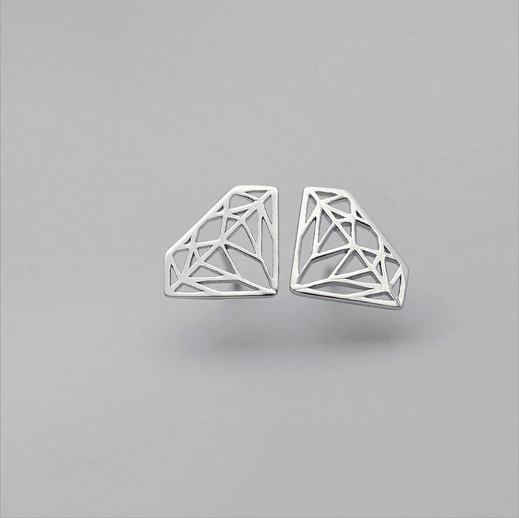 2016 New Fashion Sterling Silver Jewelry Simple Hollow Geometry font b Earrings b font For Women