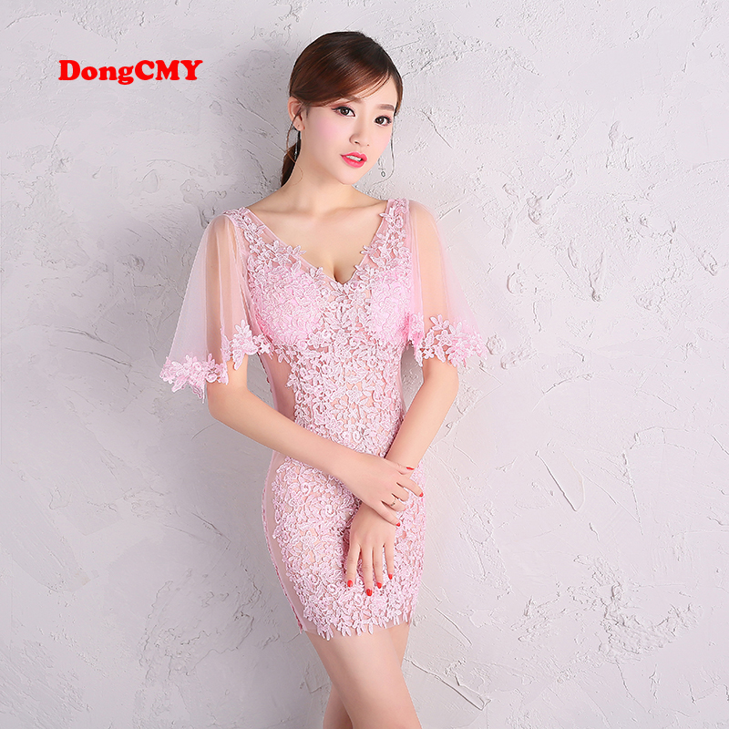 DongCMY 2019 new lace zipper mini prom   dresses   Sexy Women Illusion Elegant Party   Dress