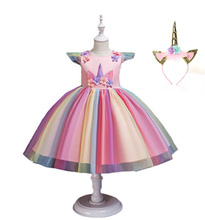 2019 girls unicorn dress European and American childrens birthday party princess