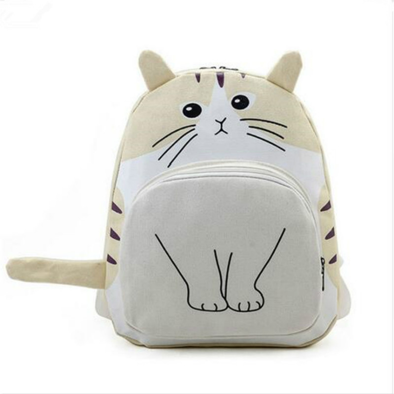 New Women Canvas Backpack Lovely Cat Printing Cute Cartoon School Bag for Teenage Girls Mochila