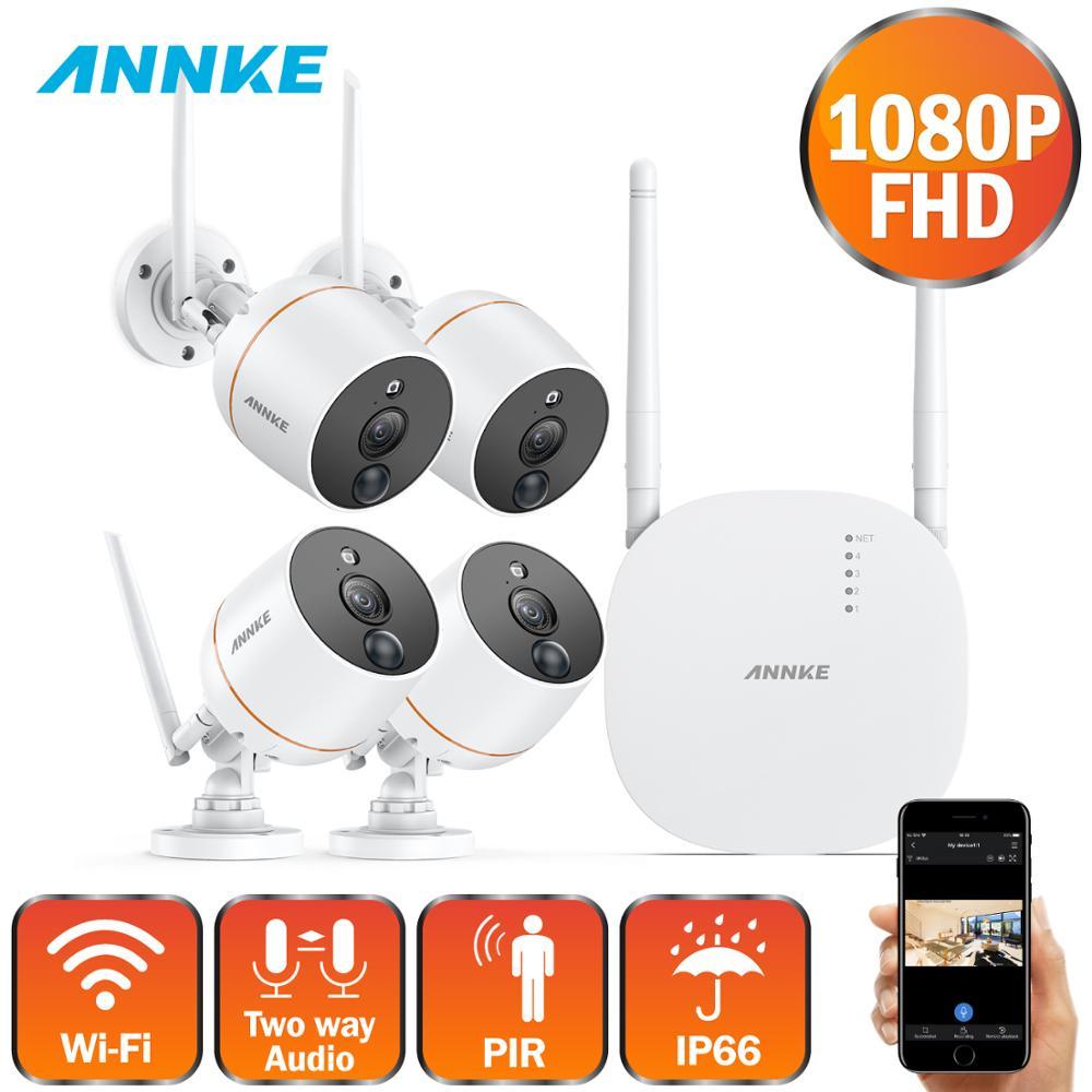ANNKE 4ch Wireless Security CCTV Camera System 1080P Wifi Mini NVR Kit Outdoor Video Surveillance Home Wireless IP Camera Set