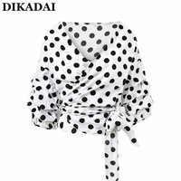 Sexy Polka Dot Wrap Tops Women Off Shoulder Ruffle Blouse Shirts 2XL XL Puff Sleeve Elegant