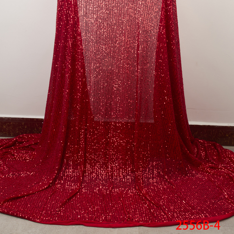 Red Popular Sequins Lace Fabric 2019 High Quality African Lace Fabric with Sequins French Lace Fabric for Woman Wedding APW2556B-in Lace from Home & Garden    1