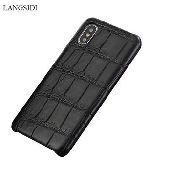 af5b5fdc42ad LANGSIDI натуральная Crocodil кожаный чехол для iPhone X xs xr ручной  работы чехол для телефона для iPhone 7 8 Plus из натуральной кожи задней  обложки