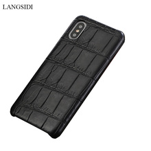 LANGSIDI Genuine Crocodil Leather case for Iphone x xs xr Handmade phone case for iphone 7 8 plus Natural leather back covers