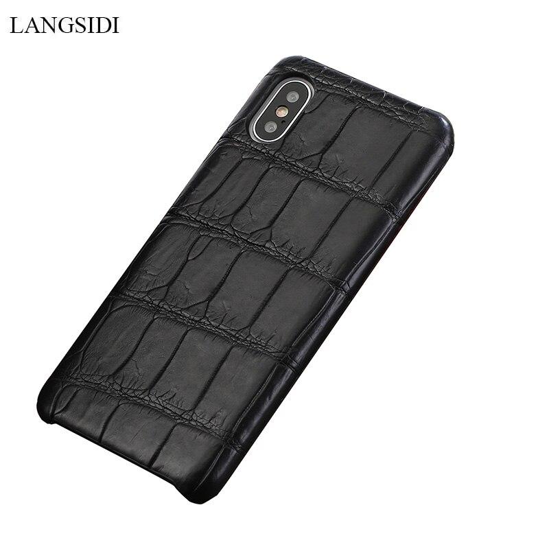 LANGSIDI Véritable Crocodil En Cuir étui pour iphone x xs xr Main coque de téléphone pour iphone 7 8 plus Naturel en cuir retour couvre