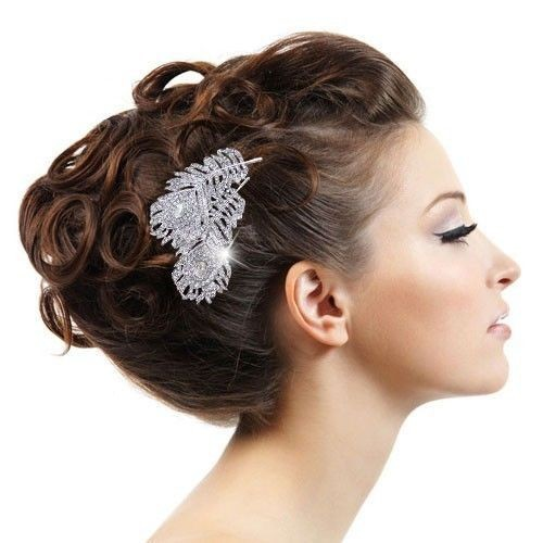 Vintage Style Wedding Bridal Hair Comb, Wedding Hair Accessories Crystal Hiar Comb Peacock Feathers Comb Bridal Hair Jewelry LL0 free shipping retail hair comb sinamay fascinator hats feather hair accessories wedding headwear 17 color are avaliable rmsf101