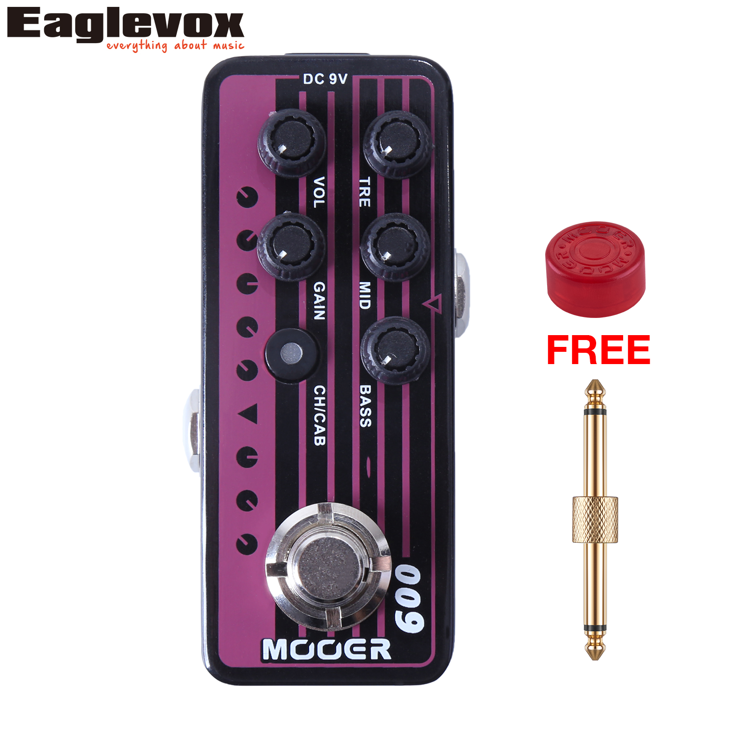 Mooer 009 Blacknight Micro Dual Channel Preamp 3 band EQ Gain Volume Controls Dual Channel with Free Gift mooer 002 uk gold 900 micro preamp dual channel 3 band eq gain volume controls guitar effect pedal with free gift