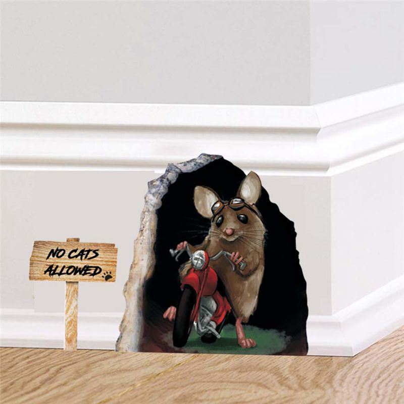 Creative Cartoon Sticker Funny Mouse Hole Waterproof Decorative Wall Stickers GH