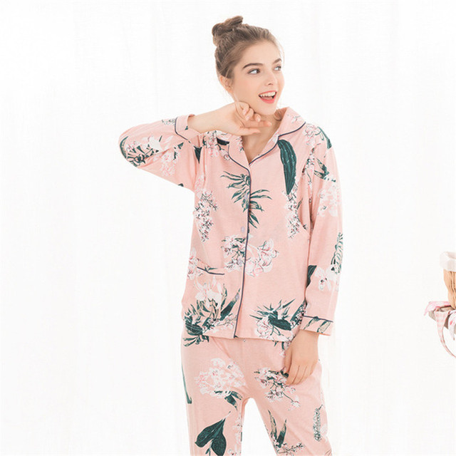 Cotton Set for Pregnant Women Home Clothes Print Lapel Maternity Nightwear Autumn Winter Breastfeeding Sleepwear Nursing Pyjamas