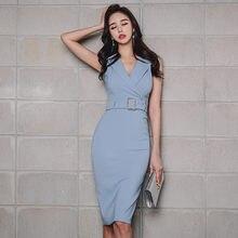 920596f3f4 Nuevo 2018 azul Rosa elegante con cinturón vestido de Midi Oficina señora  v-cuello sin mangas vestido chaqueta de verano Bodycon.