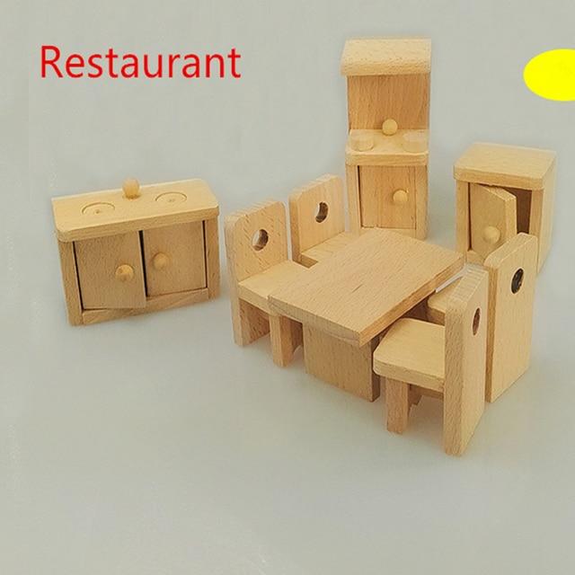 Muñeca de madera restaurante Muebles niños jugar juguete diseño ...