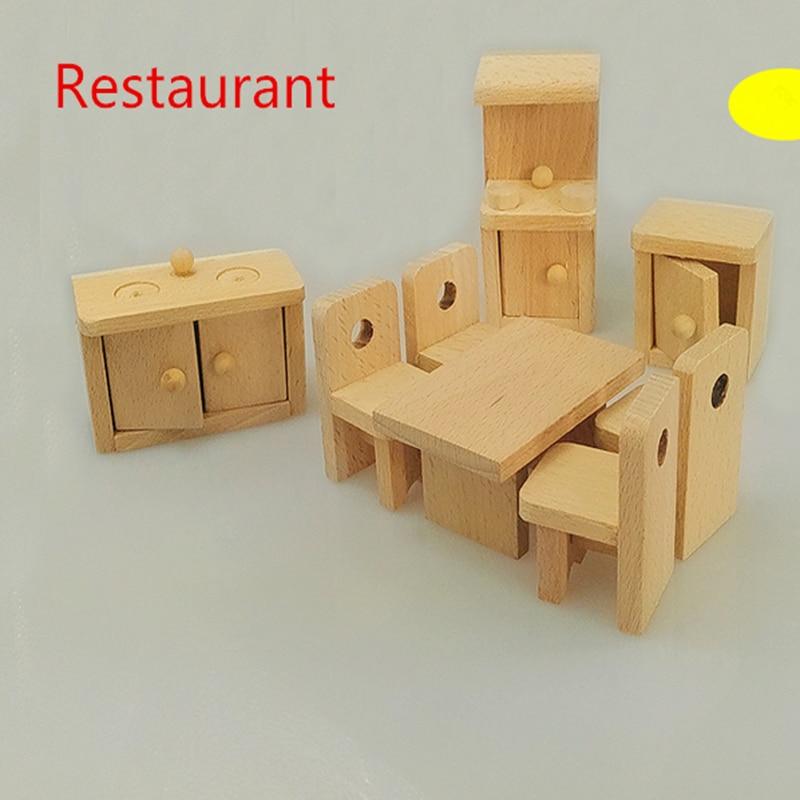 Wooden Doll Restaurant Furniture Kids Play Toy Design Wooden Dollhouse Miniature Toy Children
