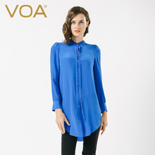 VOA Solid Blue Color Long Sleeved Silk Shirt Female New 2017 Summer Loose Long Stand Collar  Blouse B6616
