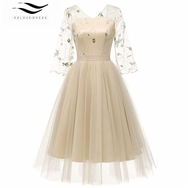 51be213881 Vestidos De cóctel té longitud vestido Formal Vestidos Cortos De cóctel De  fiesta 2019 vestido elegante
