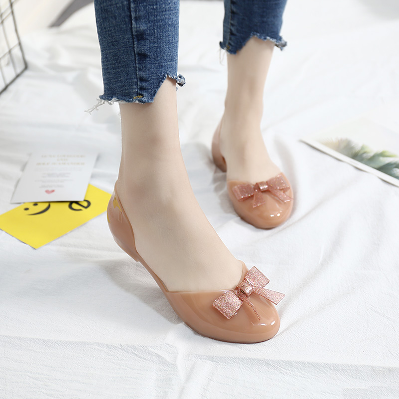 high quality melissa shoes for women with bow decoration flat sandals 2019 jelly shoes women in Low Heels from Shoes