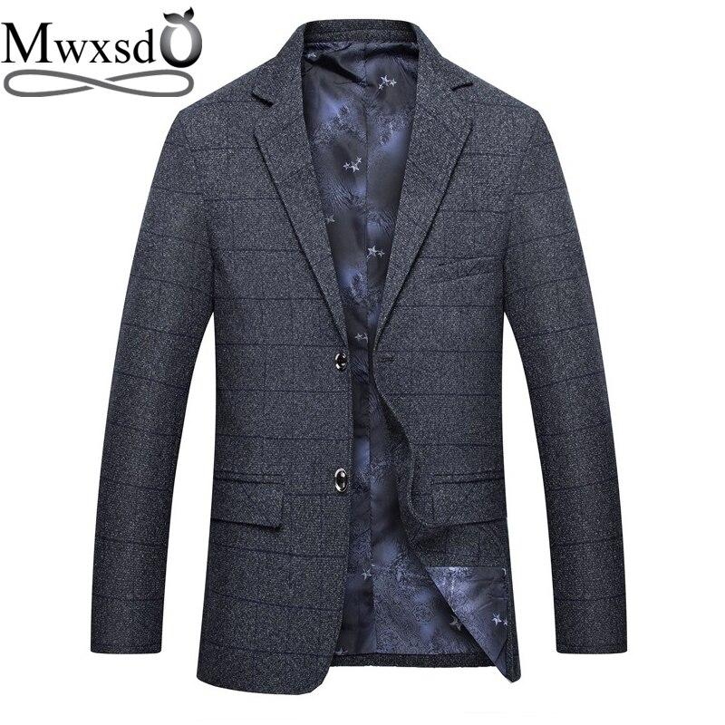 Mwxsd Brand Casual Mens Plaid Suit Blazer Men Thick Suit Jacket Male Slim Fit Gray Business Blazer Jacket Coats M-3xl