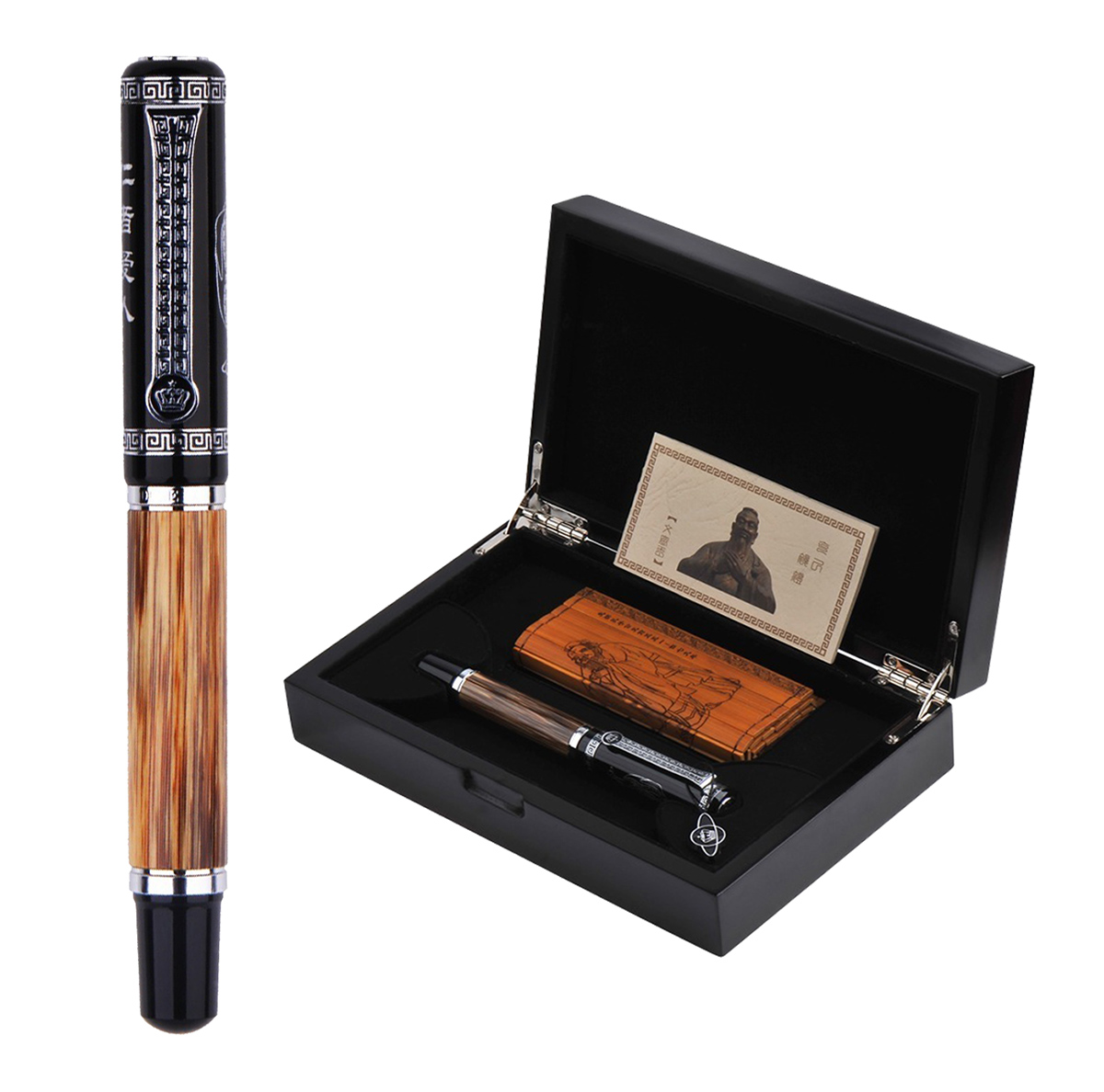 Duke Classic Confucius Natural Bamboo Metal Embossed Pattern Fountain Pen Iridium Medium Nib 0 7mm Ink