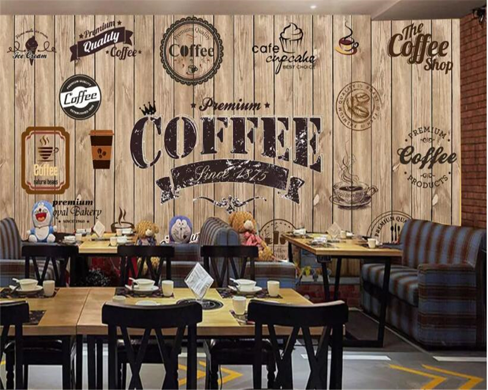Beibehang Customize any size wallpaper wood shading retro coffee coffee shop drink shop background wall painting