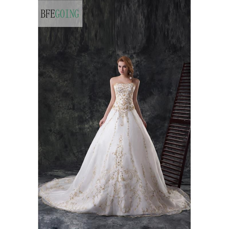Classical Floor-Length Wedding Dress Chapel Train Organza Gold Embroidery Sequins Sweetheart Chapel Train Custom made