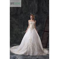 Classical Wedding Dress Wedding Gowns Satin Organza With Gold Emboidery Sequins Sweetheart Long Chapel Train Custom