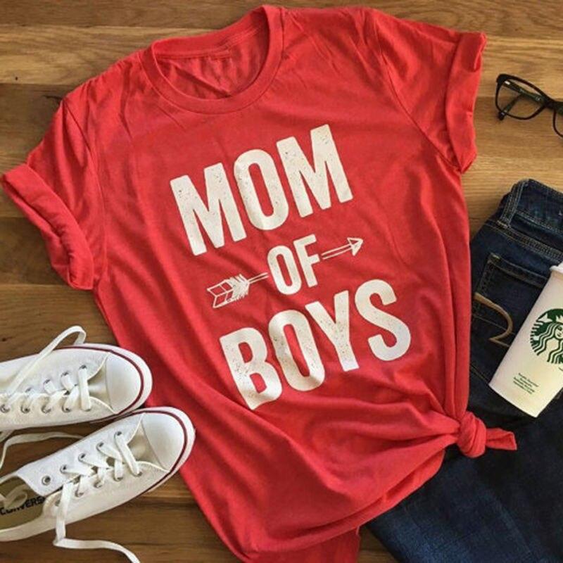 Новые модные женские Повседневная рубашка письмо мамы мальчиков футболка красный серый с коротким рукавом Футболка Леди рубашка