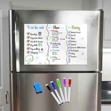 Pizarra blanca para limpiar en seco A3, 5 rotuladores, 1 borrador adhesivo con imán para nevera, organizador, planificador, tablero de recordatorio, Bloc de notas, lista de hojas