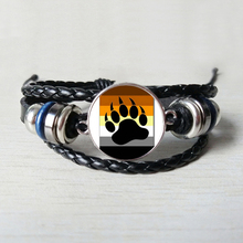 Bear Pride Ying Yang with Paw Gay Photo Charm Leather bracelet Handmade glass dome gay jewelry