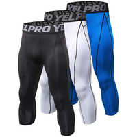 Yuerlian US Local 3Pcs Men's Compression Pants Baselayer Cool Dry Sports Tights Leggings Running Tights