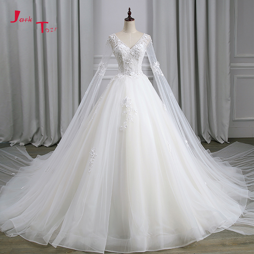 Jark Tozr Sexy Backless Long Sleeve China Bridal Gowns Beading Sequin Appliques Flower Princess Wedding Dresses 2019 Mariage