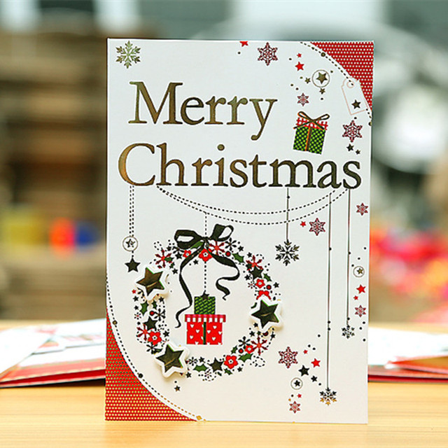 lovely design cute small paper gift cards colorful mini cartoon santa claus greeting card merry christmas - Santa Cards