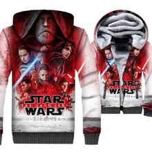 Star Wars Hoodie Jacket 3D Hoodie Men Hip Hop Hooded Sweatshirt 2018 Winter Thick Fleece Warm Zip up Coat Movie Brand Clothing