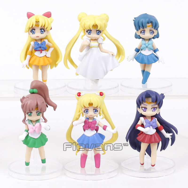 Sailor Moon Tsukino Usagi Serenity Sailor Venus Jupiter Mercury Mars PVC Figures Collectible Model Toys 6pcs/set sailor moon figures tsukino usagi 20th anniversary pvc action anime cartoon zero pretty guardian collectible toy 21cm