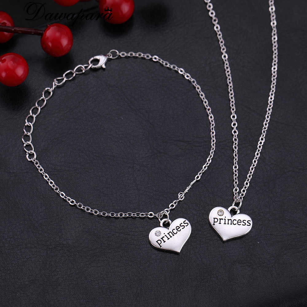 Dawapara Family Member Princess Heart-Shaped Pendant Adjustable Bracelet Jewelry sets For Little Girl Of Birthday SMCAHH110574