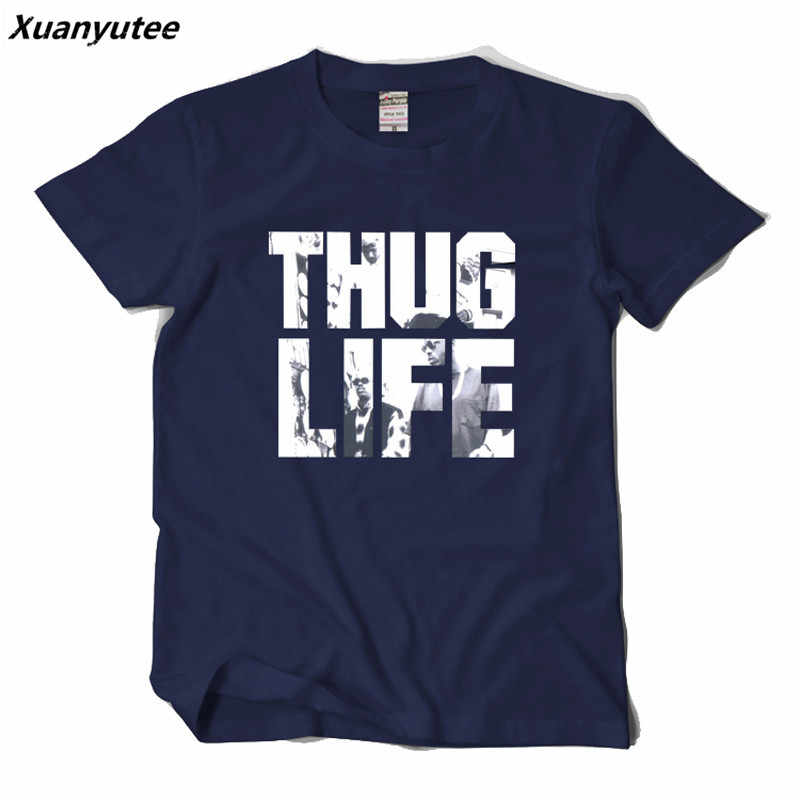 Xuanyutee Новый 2PAC футболка Homme хлопок o-образным вырезом короткий рукав печать Тупак THUG LIFE поклонники моды 2XL футболка мужские черные хип-хоп Футболка
