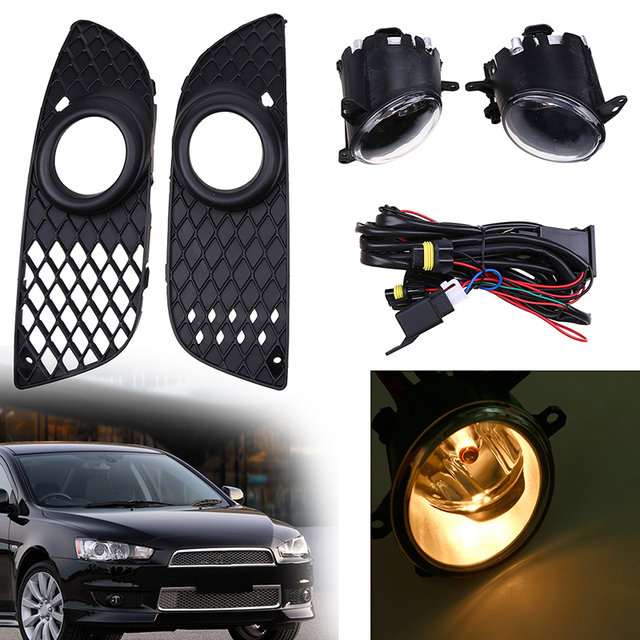 psssbay h11 car fog light lamp with front bumper grille wiring harness for mitsubishi  lancer 2008