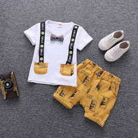 Одежда для маленьких мальчиков, летняя детская одежда с героями мультфильмов, новинка 2018 года, милые детские хлопковые комплекты, одежда дл...