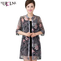 HIJKLNL 2017 Chiffon Spring and Summer Middle Age Women Cardigan Print Plus size Loose Ladies Air-conditioned Woman Shirt ST079