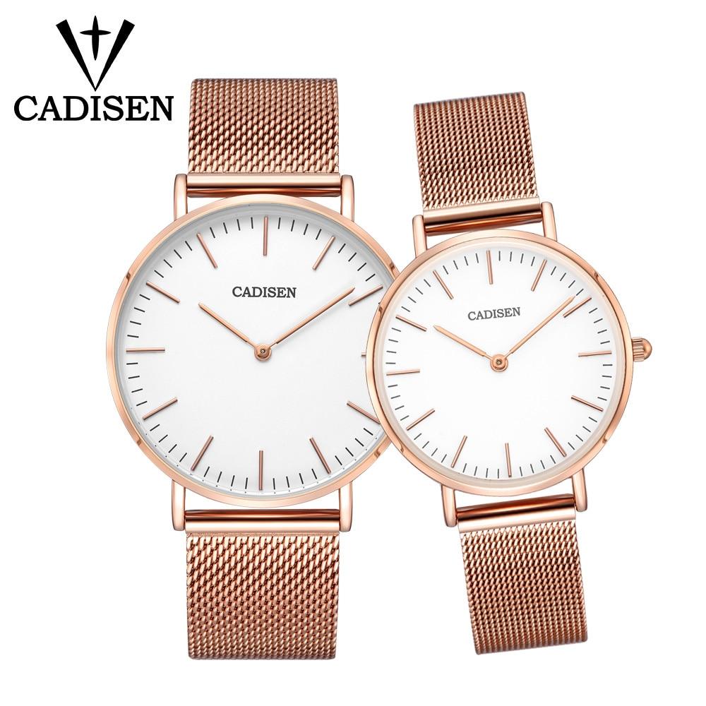 CADISEN Couple chaud montres ensemble pour les amoureux de luxe Top marque étanche Style décontracté nouvelle mode ultra-mince Quartz maille ceinture montre