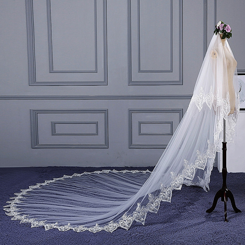 RSV88 Real Pictures Yiaibridal Stock Lace Edged Two Layers Cathedral Wedding Veil