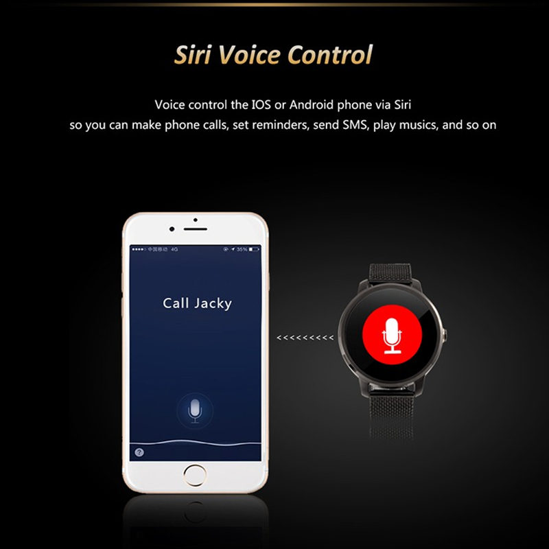 US $59 9 |2018 New V360 Smart Watch For iPhone 8 Huawei Android ios  Smartwatch with Siri function update DM360 support Dutch Hebrew-in Smart  Watches