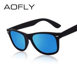 Мужские солнцезащ. очки в пластик. оправе AOFLY, черные солнцезащитые очки для вождения в пластиковой оправе, с поляризованными зеркальными ли...
