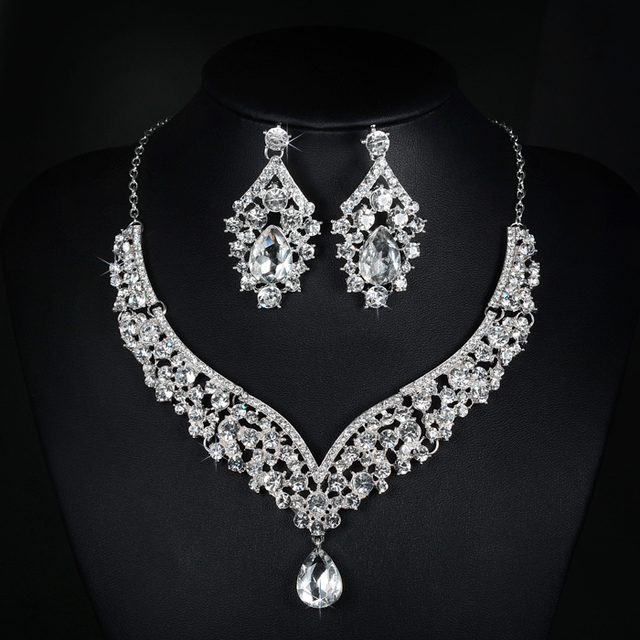 Stunning Silver Clear Rhinestones Crystals Wedding Jewelry Set Bridal Necklace Earrings Set Party Jewelry Sets