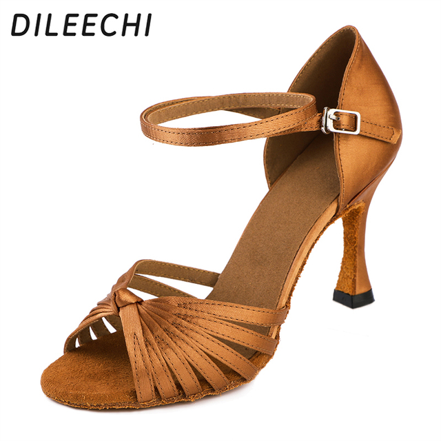 DILEECHI salsa women s latin dance shoes ballroom dancing shoes bronze heel  85mm satin soft outsole f8358660d30e