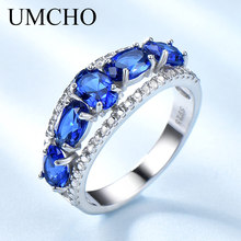 UMCHO Created Oval Nano Sapphire Ring Various Gemstone 925 S