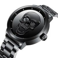 Vintage Punk Skull Head Men Watch Black Stainless Steel Stylish Rock Cool Quartz Watches Minimalism Golden